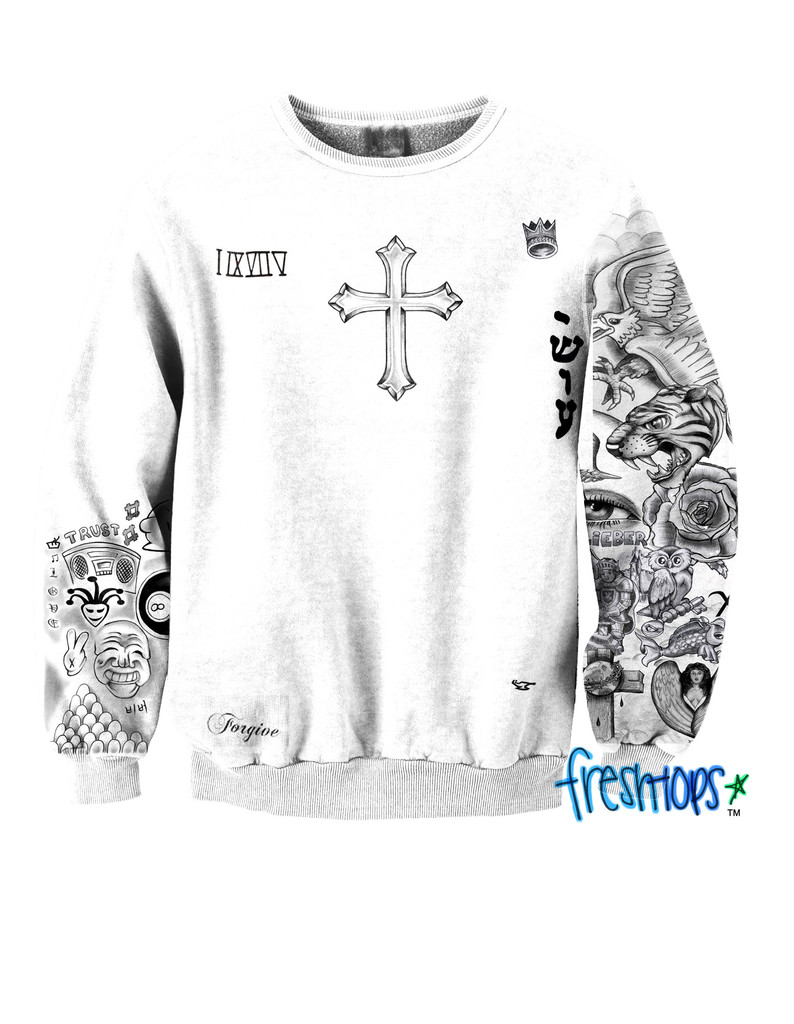 Fan girl tattoo crewneck for Justin bieber tattoo sweatshirt