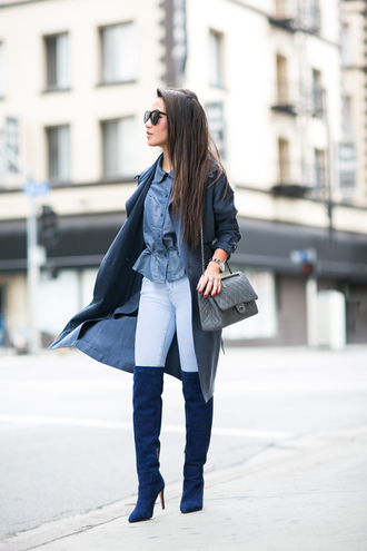 wendy's lookbook blogger trench coat denim shirt suede boots top jacket bag shoes sunglasses jewels