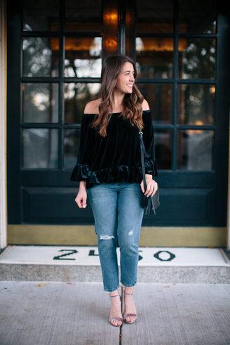 sequins and stripes blogger top dress sweater velvet top off the shoulder top high heel sandals shoulder bag