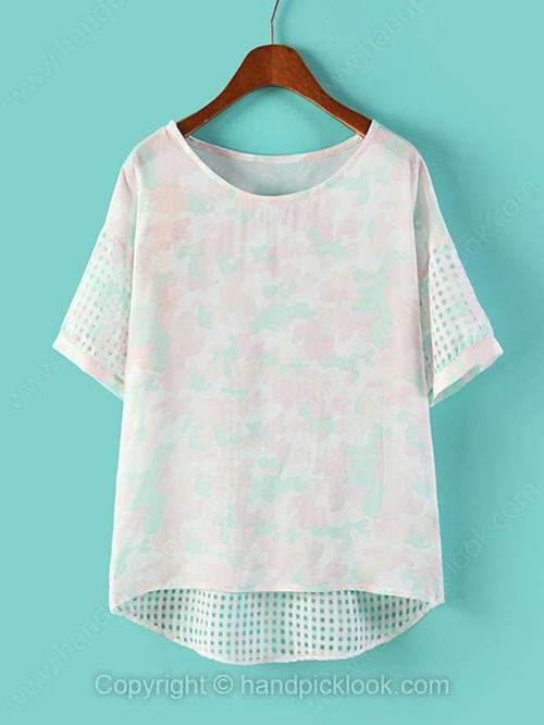White Round Neck Short Sleeve Floral Print High Low T-Shirt - HandpickLook.com