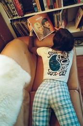 pants,pattern,blue,white,funk-gaswarnsystem,the rolling stones,funny,green,t-shirt,gingham