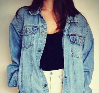 jacket vest denim denim jacket girl oversize tank top short white black white short black tank top oversized jacket