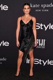 shoes,dress,black dress,little black dress,asymmetrical,asymmetrical dress,lea michele,celebrity,heels