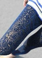 blue leggings,geometric,flowers,white perls
