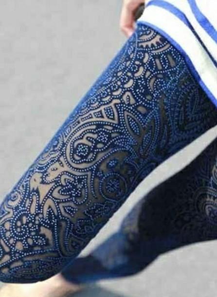 blue leggings geometric flowers white perls