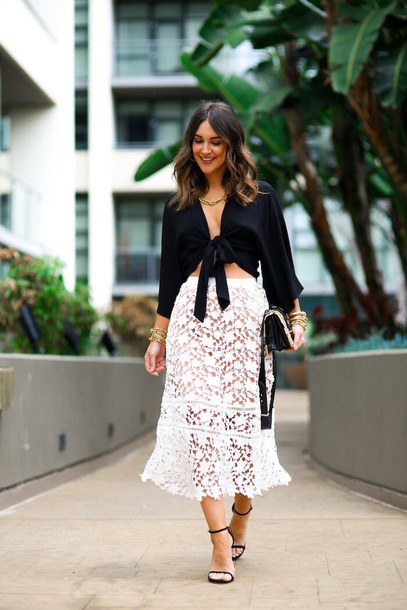 skirt midi skirt white skirt top black top see through lace skirt tie-front top sandals sandal heels spring outfits
