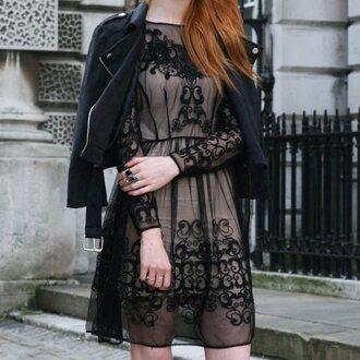 black dress mini dress black jacket transparent dress motifs flowers