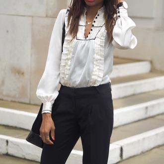 symphony of silk blogger blouse pants jewels shoes bag