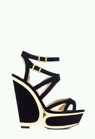 shoes black heels heels golden wedges wedge heels