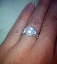 Amazon.com: sterling silver, freshwater cultured white pearl, and white topaz ring (9