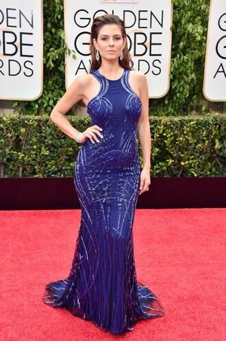 dress gown prom dress maria menounos blue golden globes 2015