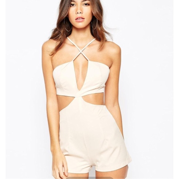 NaaNaa Cut Out Plunge Romper With Cross Strap 0 from Brittany's closet on Poshmark