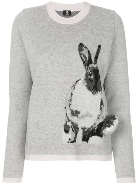 sweater bunny women mohair print grey