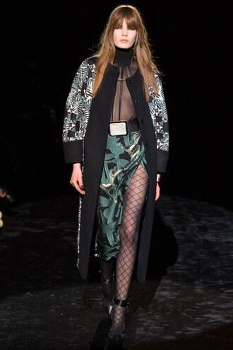 skirt top slit skirt tights see through fashion week 2016 runway model emanuel ungaro paris fashion week 2016 turtleneck coat