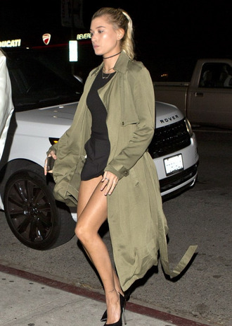 coat trench coat hailey baldwin pumps black dress mini dress