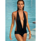 Sexy black halter nylon spandex polyester conjoined bikini swimwear_$13.99