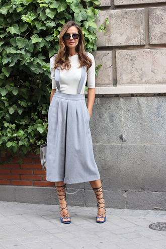 lady addict blogger strappy sandals culottes jumpsuit white top long sleeves
