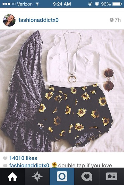 shorts flowered shorts daisy sunglasses