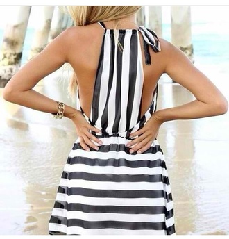 dress striped dress stripes black and white summer dress hot weather tanned sexy dress beach