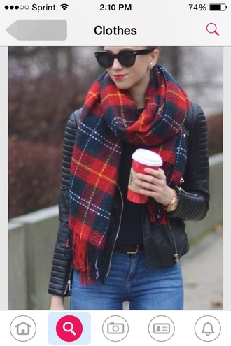 scarf black blue and red scarf jacket