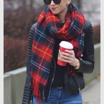 scarf jacket black blue and red scarf scarf red