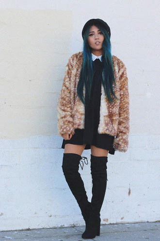 the river wolf blogger blue hair hair dye faux fur jacket thigh high boots black boots suede boots fall outfits