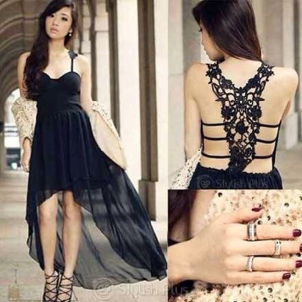 Dress: black lace dress net high-low dresses little black dress ...