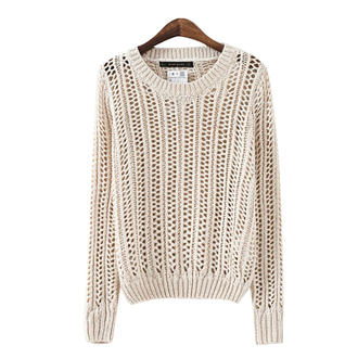 beige sweater off white pullover see trough sweater hollow out
