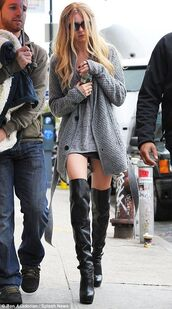 shoes,thigh highs,boots,thigh high boots,black,taylor momsen,cardigan,grey,heels,tumblr,grunge,streetstyle