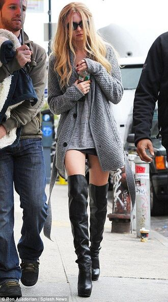 shoes thigh highs boots thigh high boots black taylor momsen cardigan grey heels tumblr grunge streetstyle