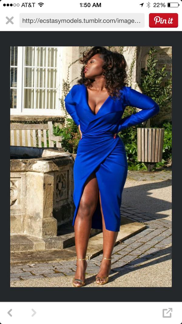 Dress: blue dress midi dress wrap dress long sleeve dress ...