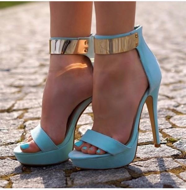 shoes, light blue, heels, prom - Wheretoget
