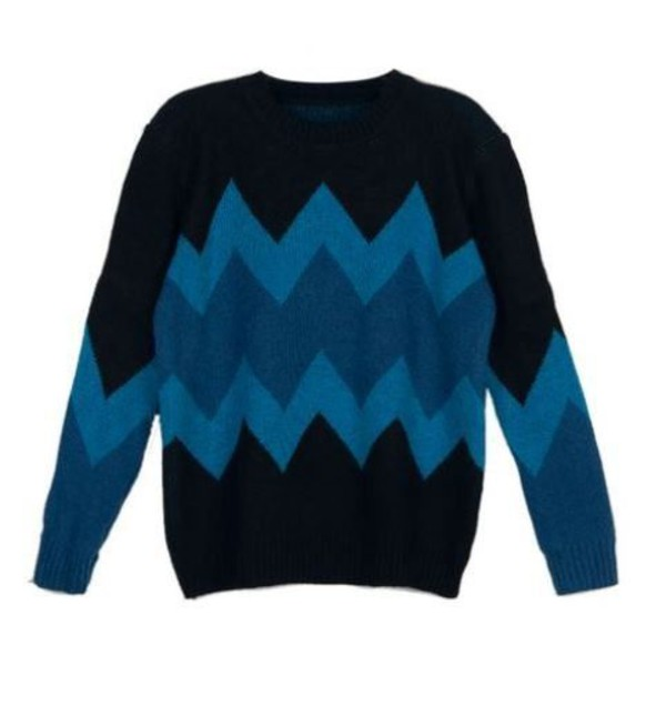 blue sweater blue contrast sweater contrasting chevrons chevron sweater blue zigzag www.ustrendy.com