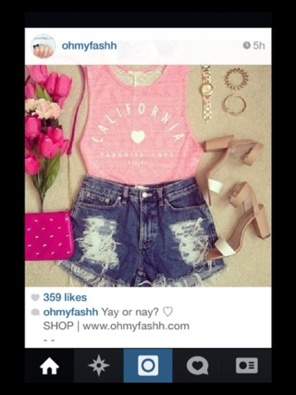 tank top pink tank top high waisted denim shorts