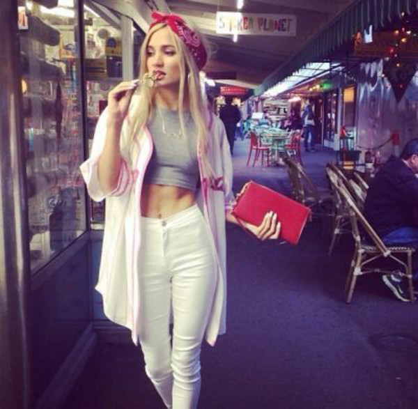 jeans white denim jeans pia mia perez tank top