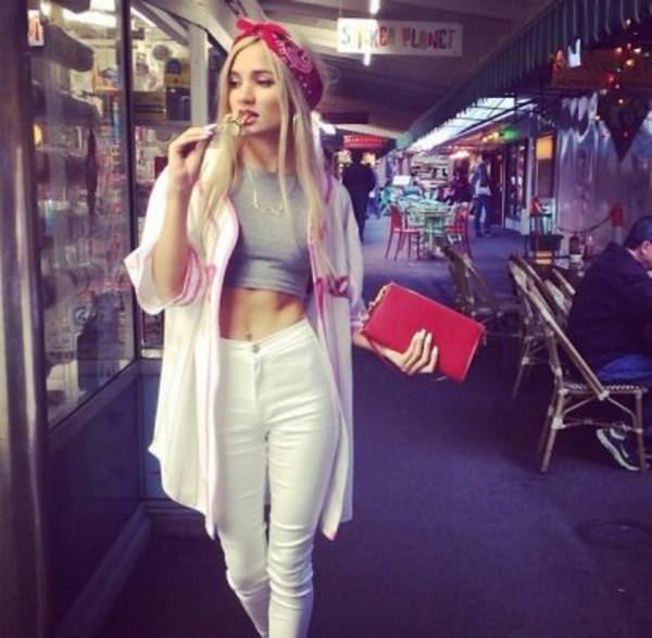 jeans white denim jeans pia mia perez tank top bag pia mia perez smallredbag top