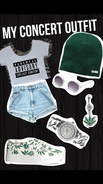shoes weed marijuana parental advisory explicit content beanie green crop tops shorts sunglasses white silver watch belly button ring top jewels forest green hat