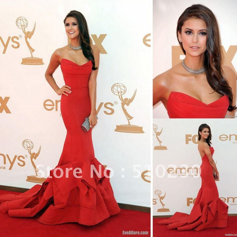 Nina Dobrev Strapless Red Gown at 2012 Emmy Awards Look Alike Celebrity dresses (Free Shipping)-in Celebrity-Inspired Dresses from Apparel & Accessories on Aliexpress.com