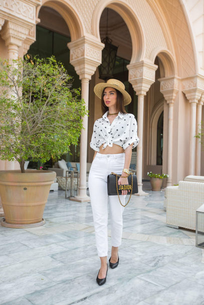 top hat white jeans tumblr tie-front top crop tops polka dots sun hat denim jeans shoes slingbacks bag black bag