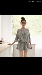 romper,grey,long sleeves