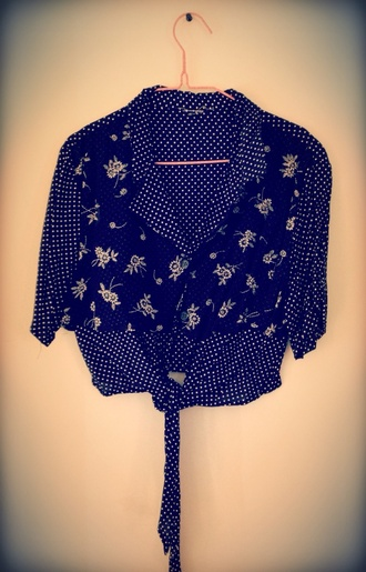 blouse crop tops blue shirt polka dots sunflower 90s style vintage spring