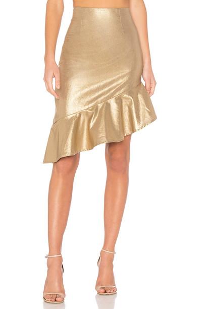 Lovers + Friends skirt metallic gold
