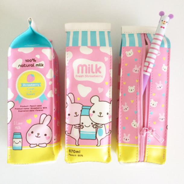 Home Accessory Milk Kawaii Kawaii Accessory Pink Pencil Case Food Office  Supplies School Supplies Back To