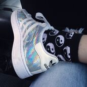 shoes,adidas,superstar,white,glitter,silver,style,hipste,grunge,pale,tumblr,socks