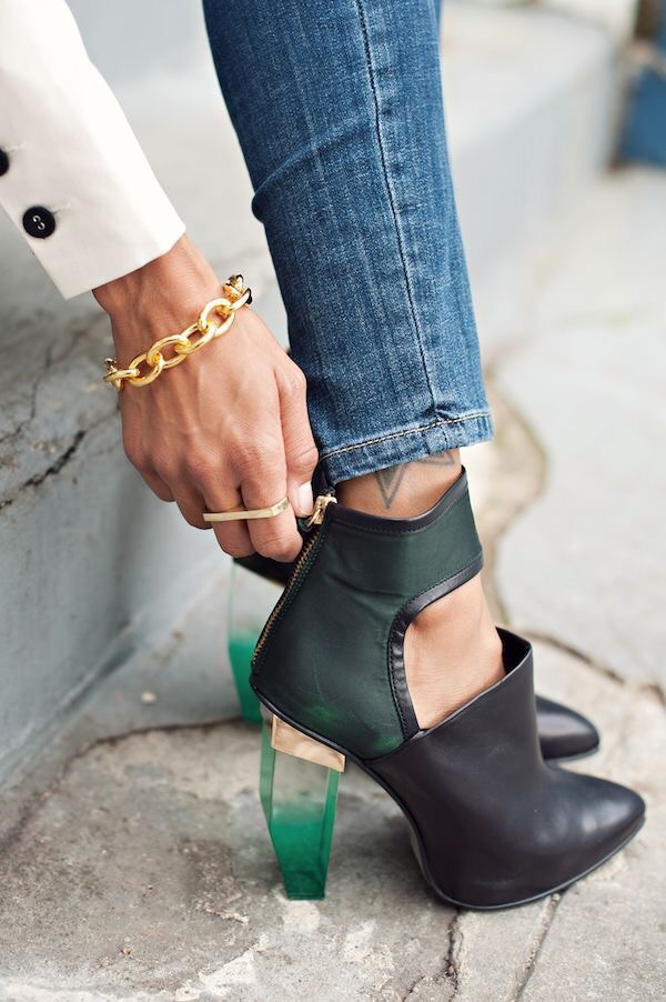 shoes leather black booties crystal heels