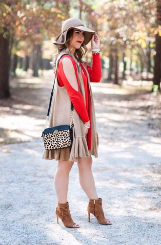 herestheskinny blogger jacket sweater dress shoes bag hat jewels make-up vest felt hat animal print bag red dress ankle boots peep toe boots