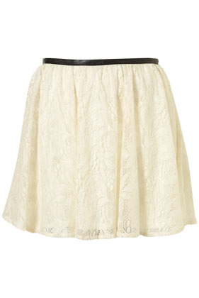 Cream lace faux leather trim skirt