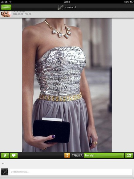 sequin dress grey dress gold belt dress special occasion dress