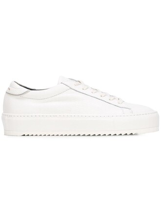 women classic sneakers lace leather white shoes