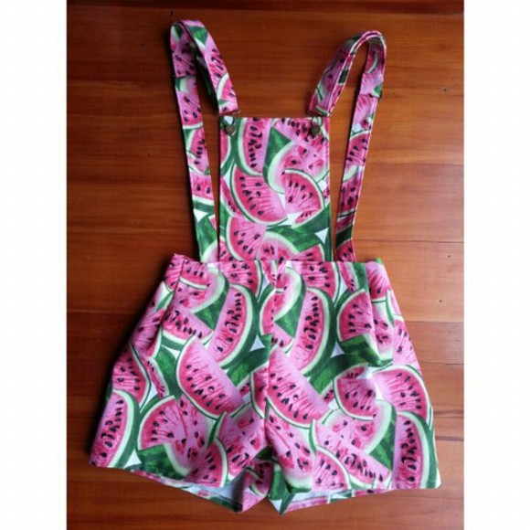 bottoms top summer outfits pink green colorful shorts jumpsuit playsuit watermelon print summer dress colors print